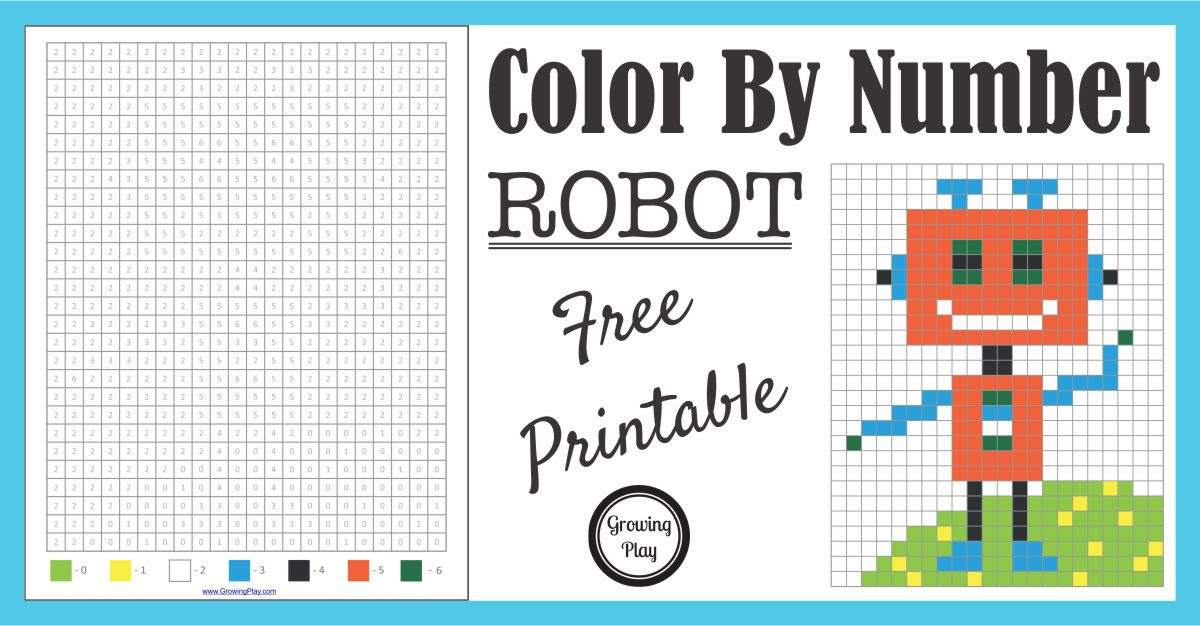 Color By Number Robot Growing Play