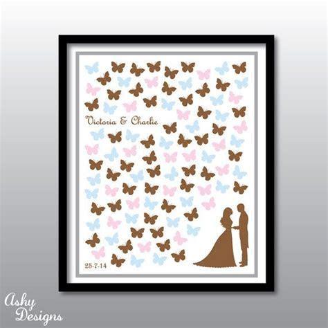 Wedding Guest Book Alternative Pink Butterflies   Custom