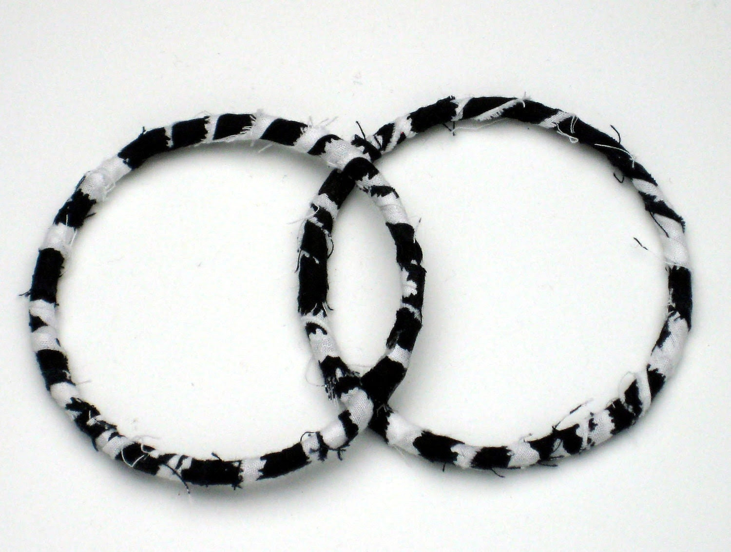 Zebra Fabric Wrapped Hoop Earrings