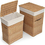 Badger Basket 2 Piece Wicker Hamper Set; Natural
