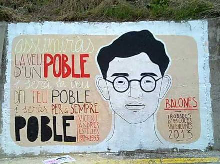 Mural dedicat a V. Andrés Estellés, a Balones (el Comtat), amb motiu de la Trobada d'Escoles Valencianes celebrada l'1 de juny de 2013