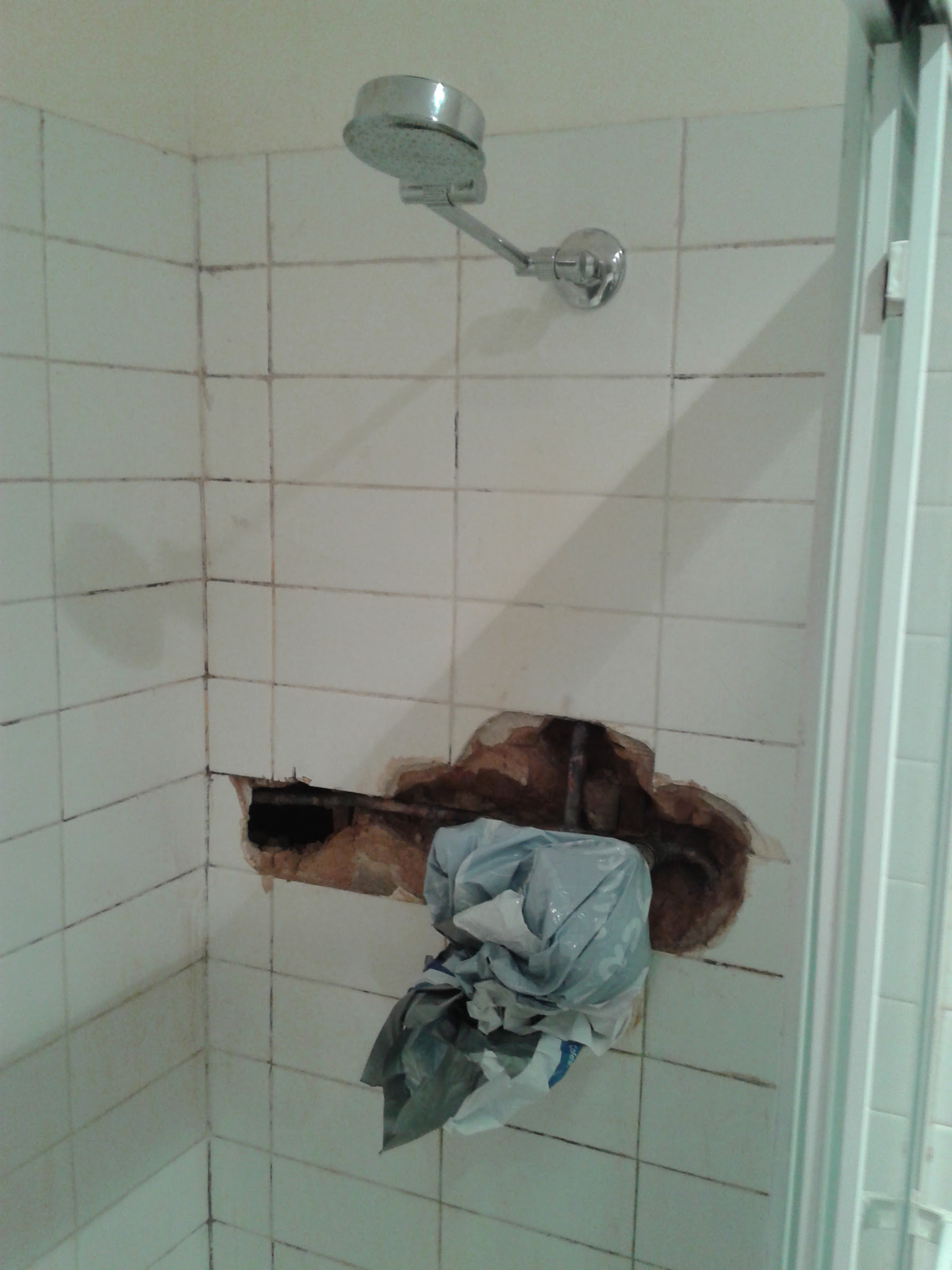 plumbing - Making piping easily accessible inside shower ...