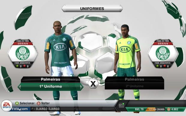 Palmeiras, além dos clubes cariocas, entra em Fifa 13 com nome e uniformes autênticos (Foto: Reprodução)