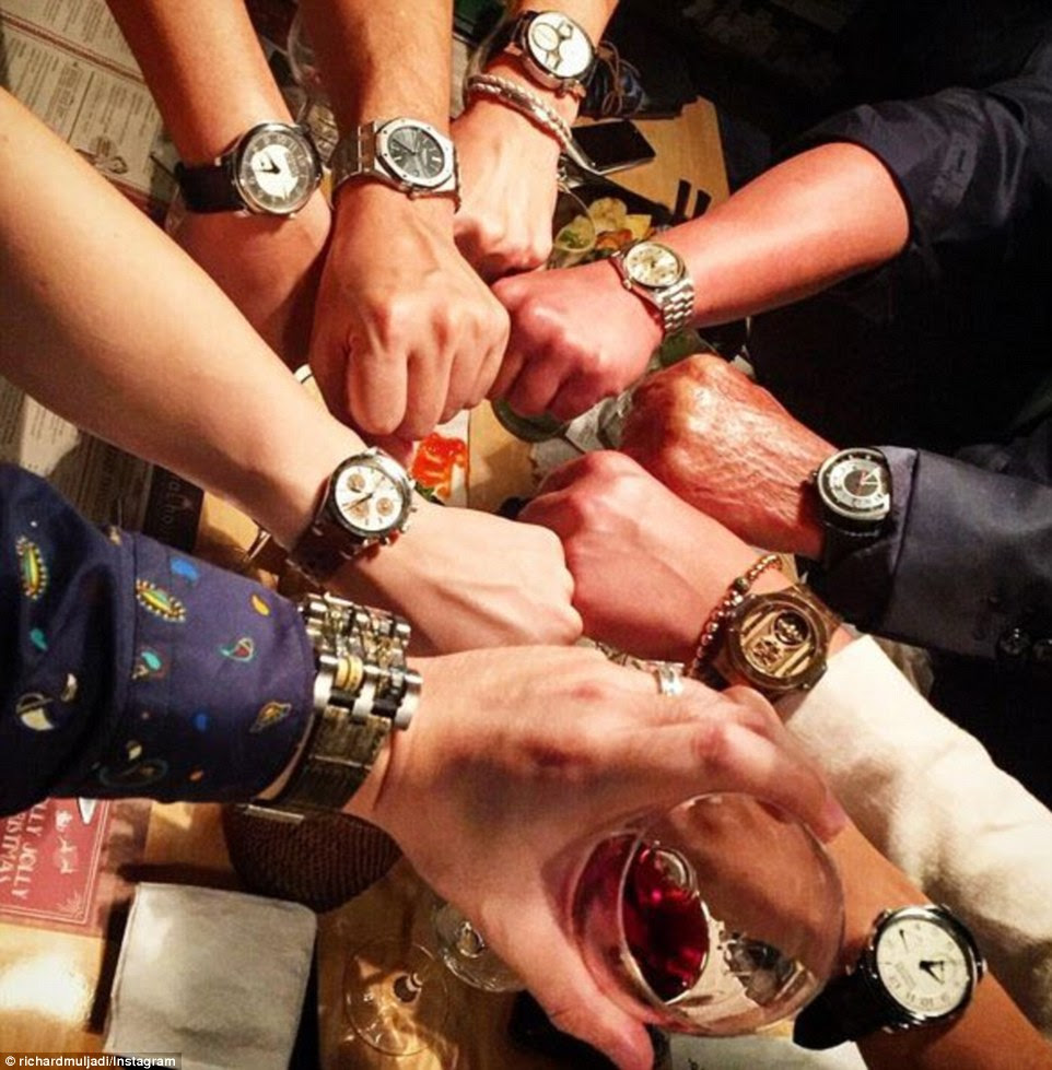 And Richard Muljadi, whose mother Kartini is one of the richest women in Indonesia, showed off the luxury watches adorning both his and his friends' wrist, with the caption 'It ain't fun unless my whole team winning'