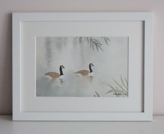 Canada Geese on the pond (2016) Watercolor by Mary Adam