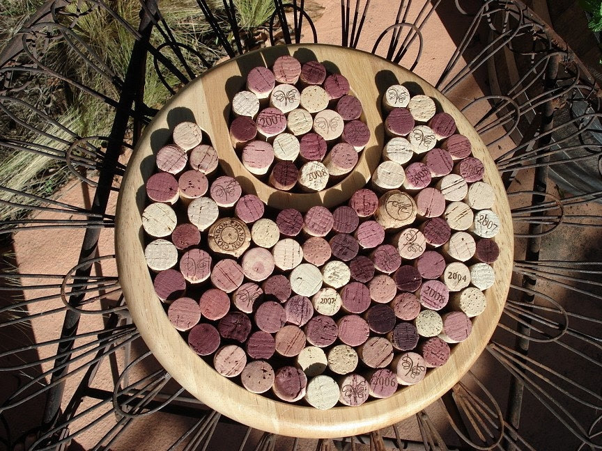 Wine Cork Trivet repurposed from a chips and salsa tray by Lolailo - Lolailo