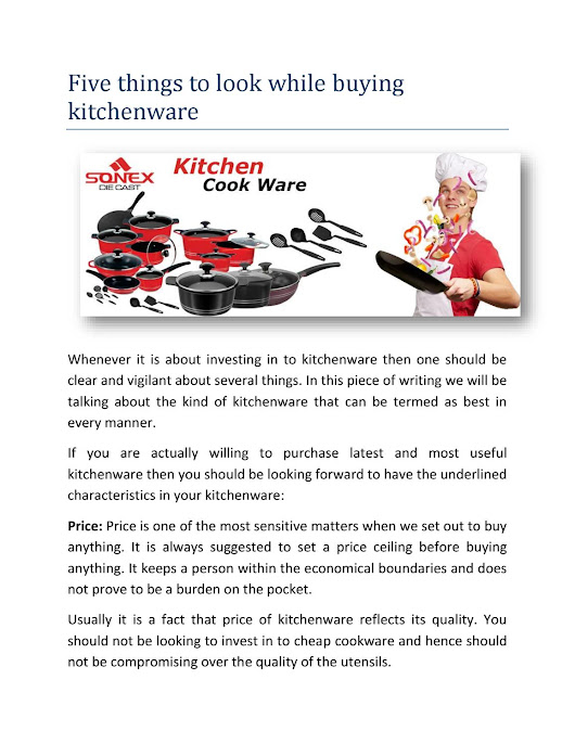 Sonex five things to look while buying kitchenware 27 dec 2017