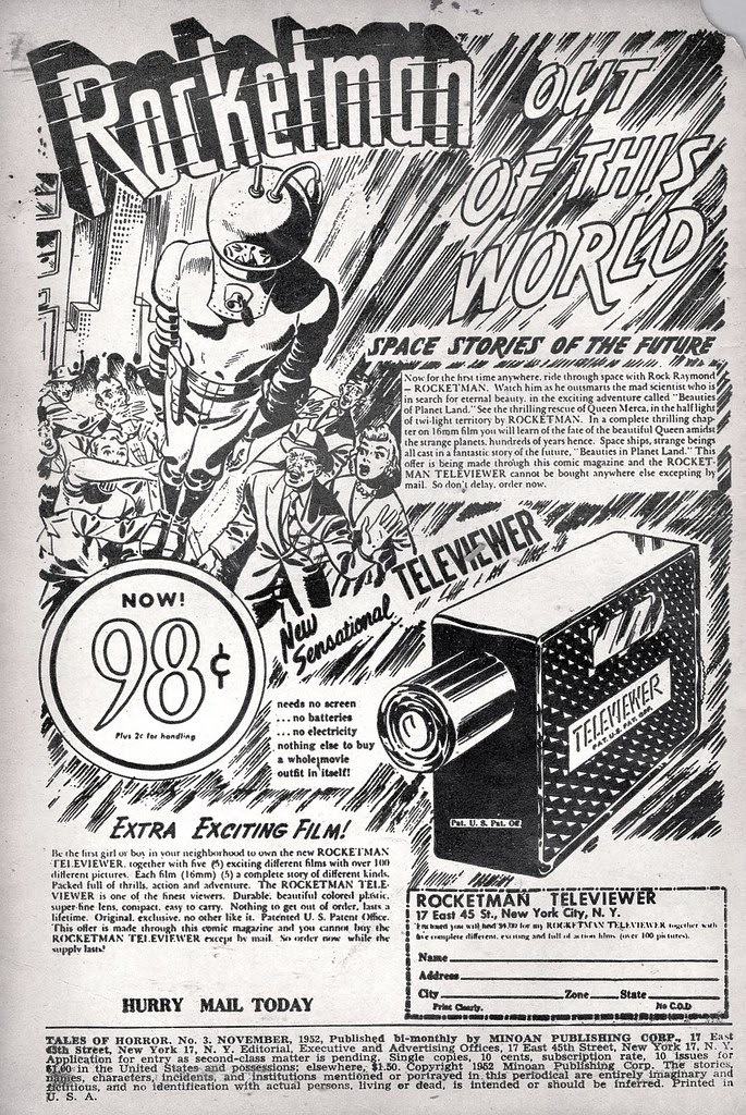 Rocketman televiewer ad from 1952 comic