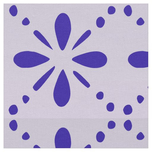 Old Fashioned Blue Folk Art Flower Pattern Fabric