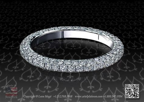 three row micro pave band in platinum by Leon Mege   The