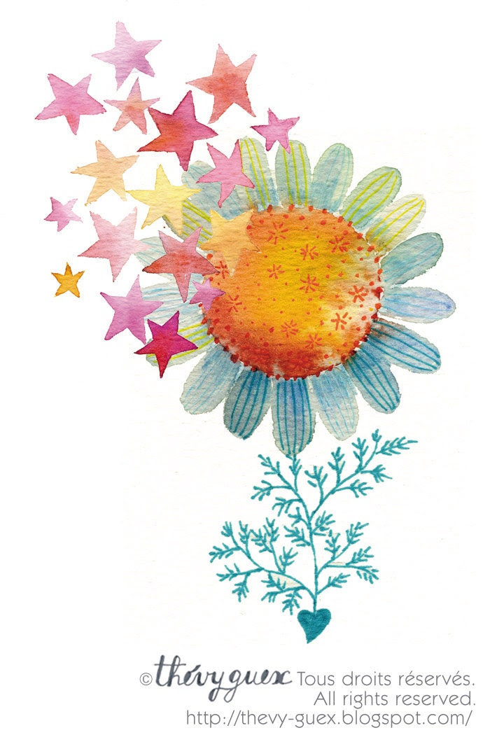 Stars and Sunflower Card/Spring Flower Card/Watercolor Botanical Card - thevysherbarium