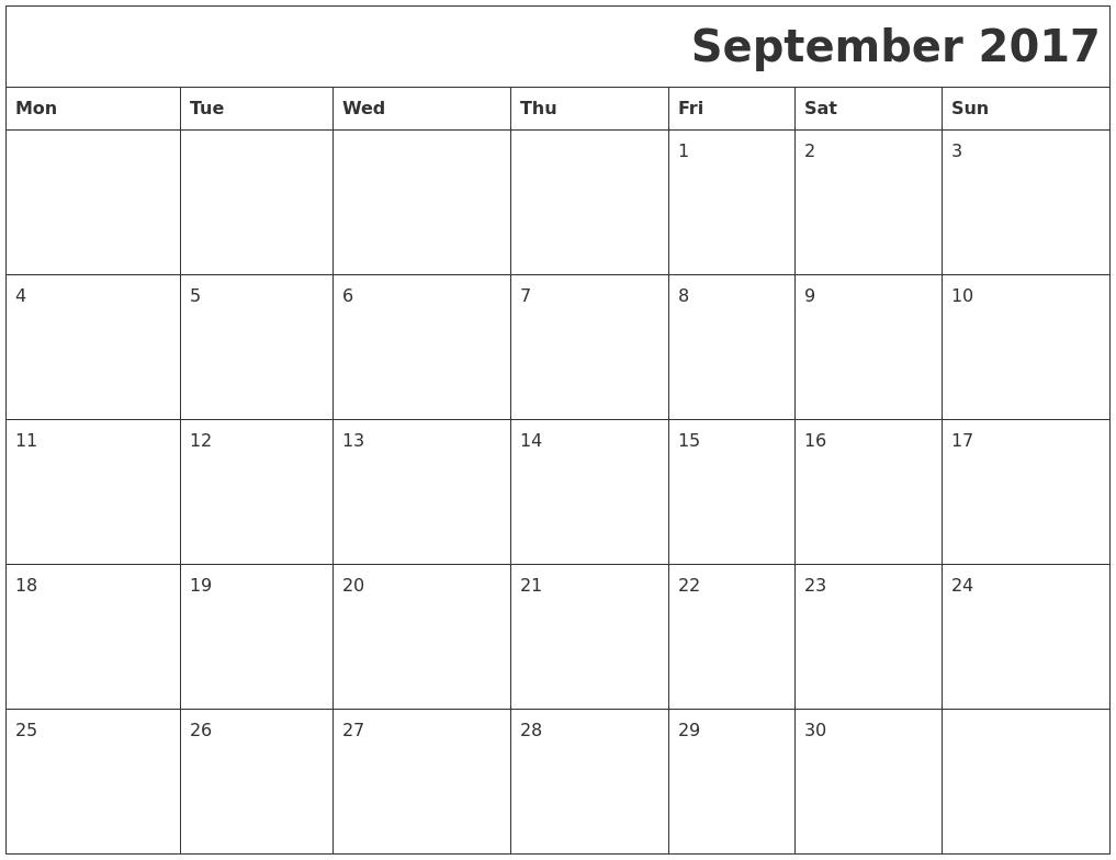 September 2017 Download Calendar PDF39;s