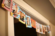 A picture banner for a birthday party - great idea!