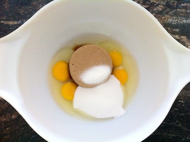 Brown Sugar and Granulated Sugar Added to Eggs