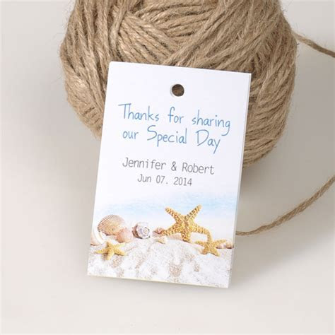 summer beach themed wedding favor tags gift cards EWFR021