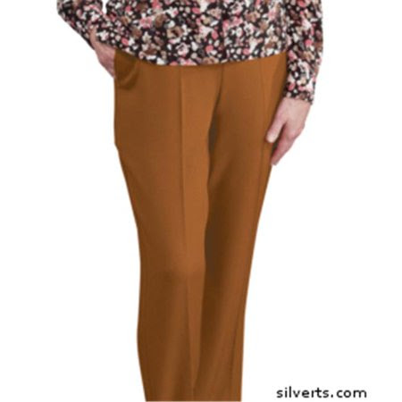 Silverts 130903203 Womens Elastic Waist Pants 2 Pockets - Ladies Pull On Pants - 12, Coffee