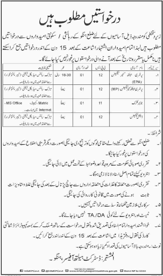 Technician & Clerk Jobs in District Health Office 2017 2018 Jobs Pakistan Jobz.pk