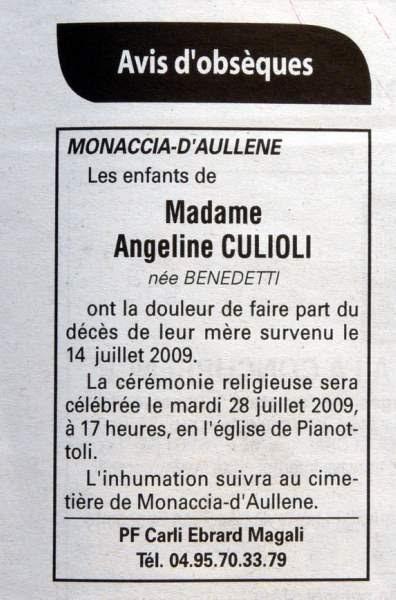Décès Culioli Benedetti Angeline
