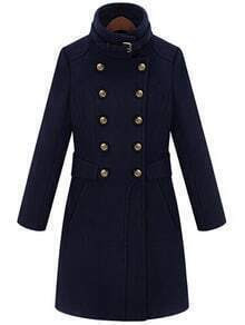 Navy Double Breasted Stand Collar Waistband Slim Wool Coat