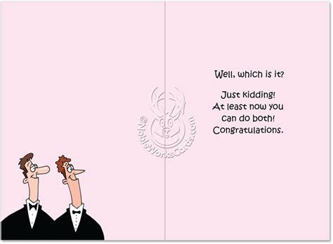 Happy Gay Marriage Cartoons Wedding Greeting Card D.T. Walsh