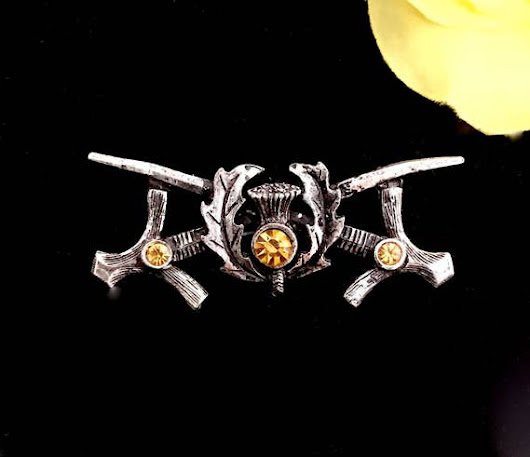 scottish war swords  thistle with yellow crystals brooch pin