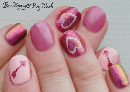 Arrow and Heart Nail Art manicure with Tonic Polish, Sally Hansen, L.A. Colors