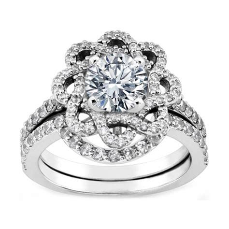 Engagement Ring  Floral Halo Diamond Engagement Ring and