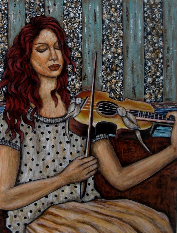 Bird's Song - 15 x 20 inches - Rain Ririn's Original Folk Art Painting