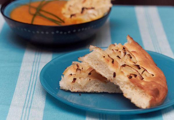Pumpkin & kumara soup + onion focaccia