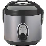 SPT - 6-Cup Rice Cooker - Black/Silver