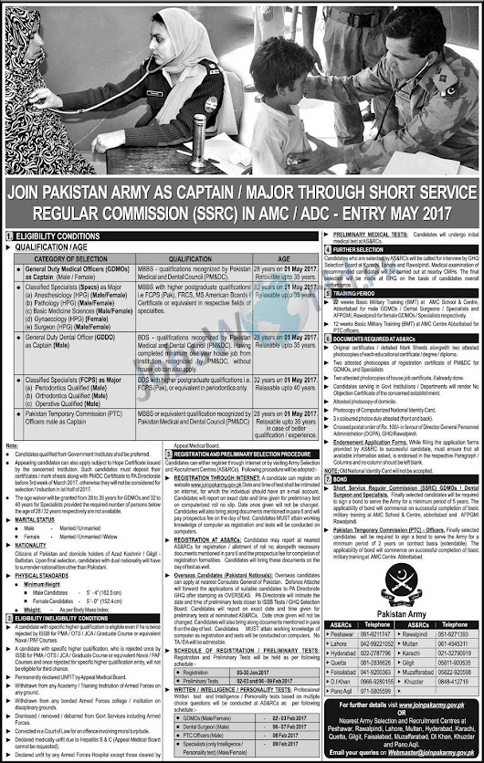 Short Service & Regular Commission Pak Army 2017 Jobs AMC/ADC