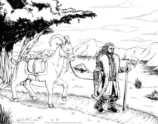 Thorin and Goat in Ered Luin