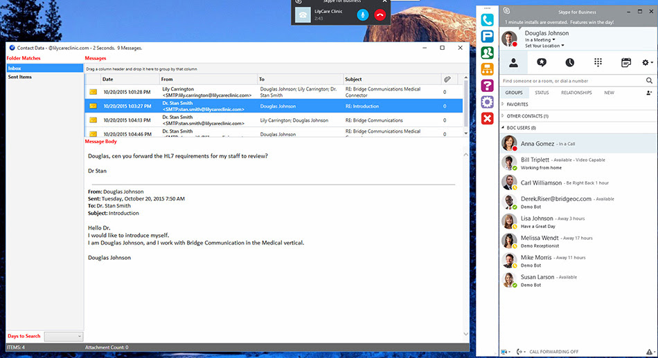 Lync Skype for Business email searching
