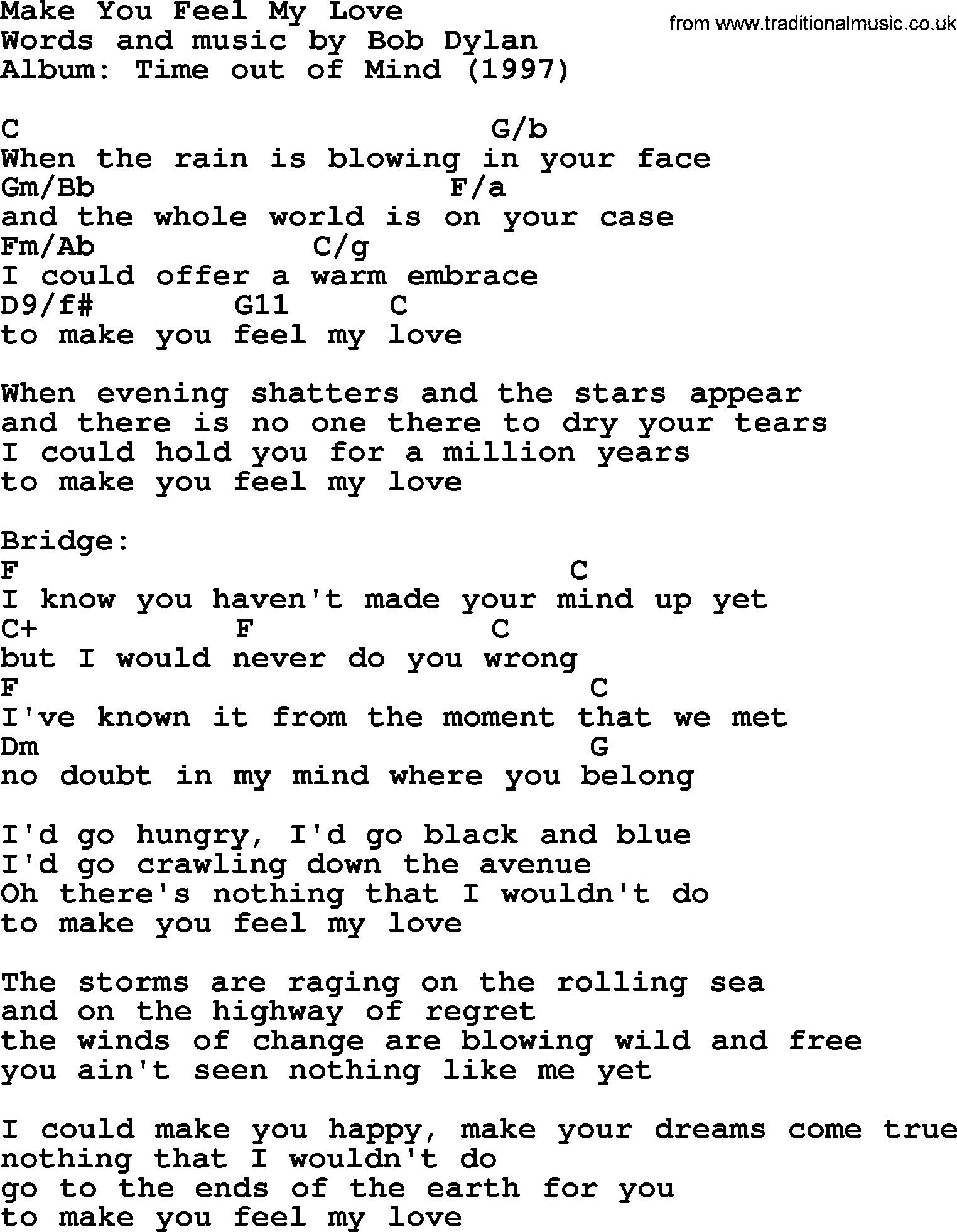 Bob Dylan Song Make You Feel My Love Lyrics And Chords