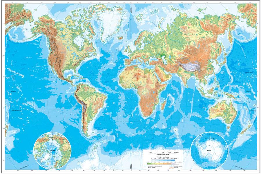 Mapa Físico Del Mundo.Mapa Fisico Del Mundo Para Imprimir Mapa
