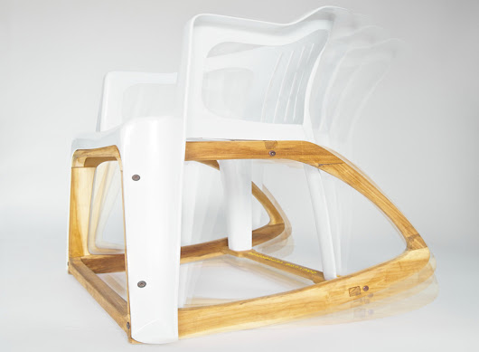 seniman's 'bar roker' rocking chair combines plastic mold and balinese reclaimed wood