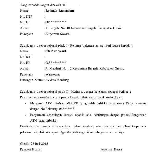 contoh surat kuasa rekening contoh 317