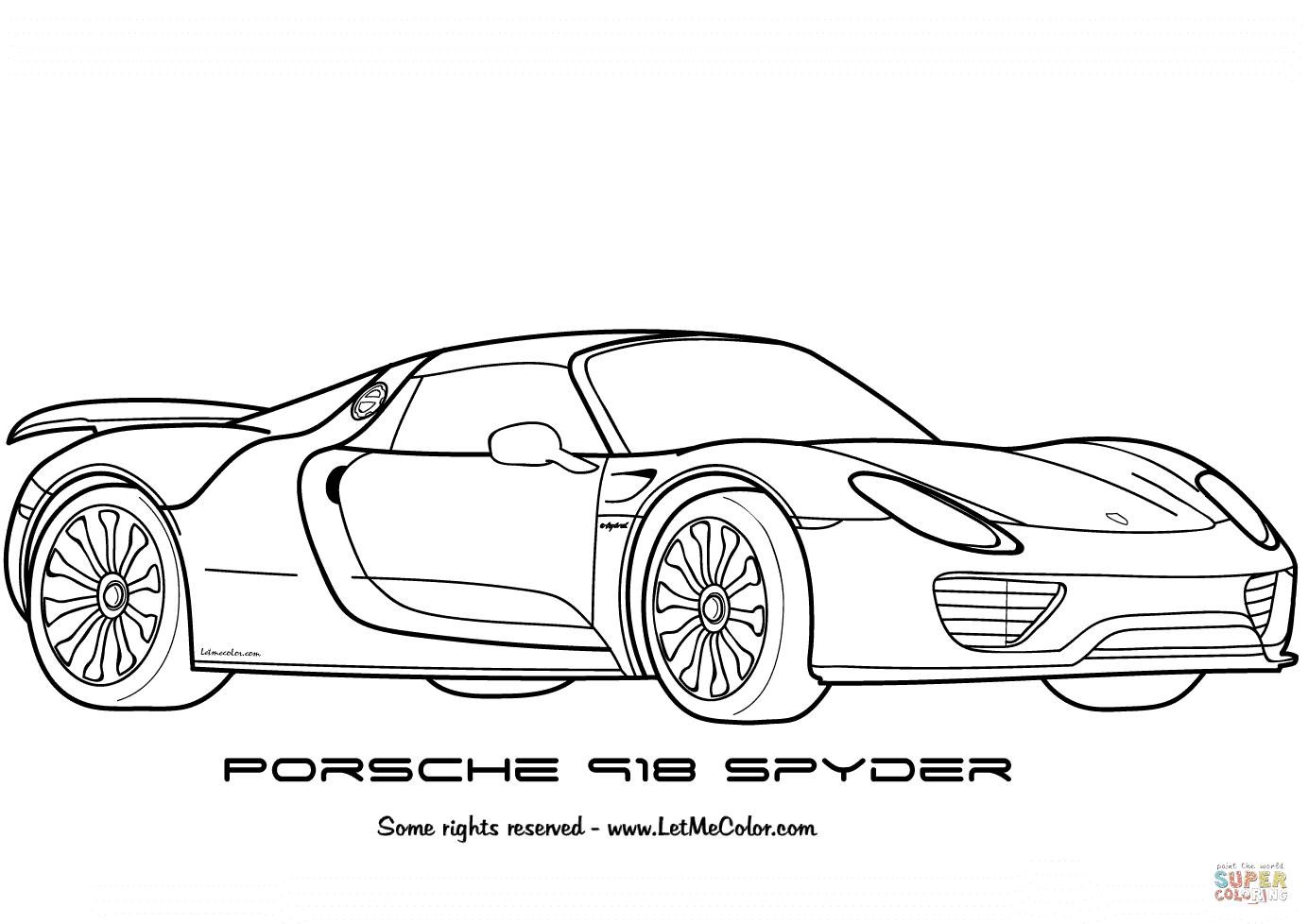Ausmalbild: Porsche 918 Spyder  Ausmalbilder kostenlos zum ausdrucken
