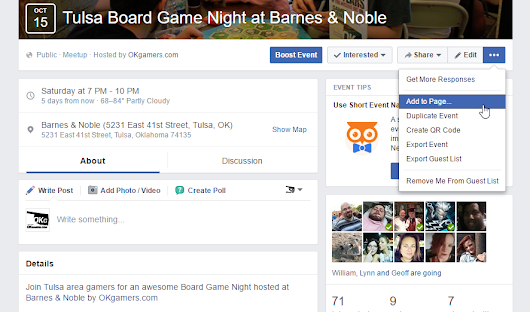 How to add anyone's event to your Facebook Page - OKgamers.com
