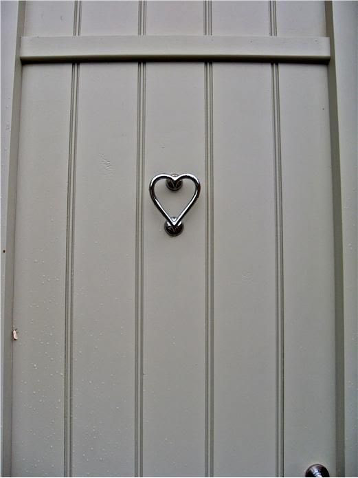 Nickel Heart Door Knocker and door in Farrow and Ball French Gray.
