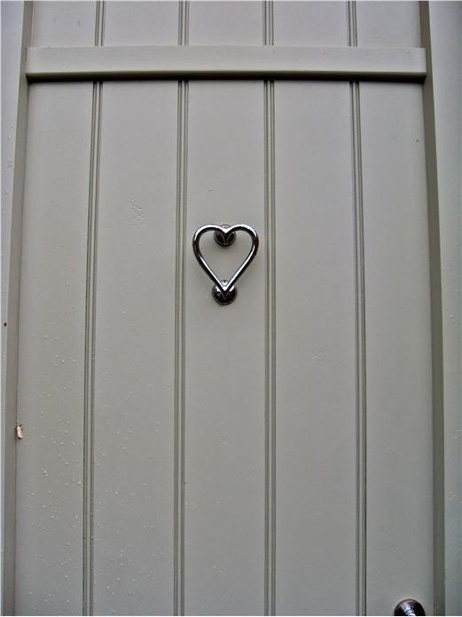 Nickel Heart Door Knocker and door in French Gray.