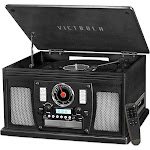 Victrola - Navigator 8-in-1 Classic Bluetooth Record Player with Turntable - Black