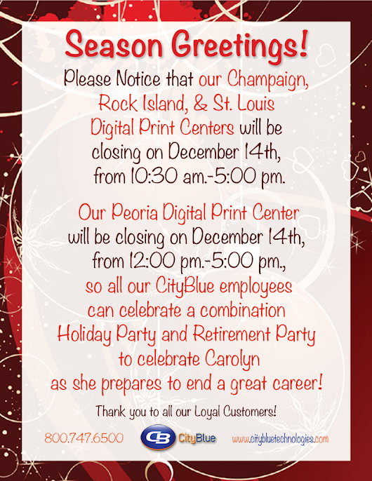 We are closing early on December 14th.