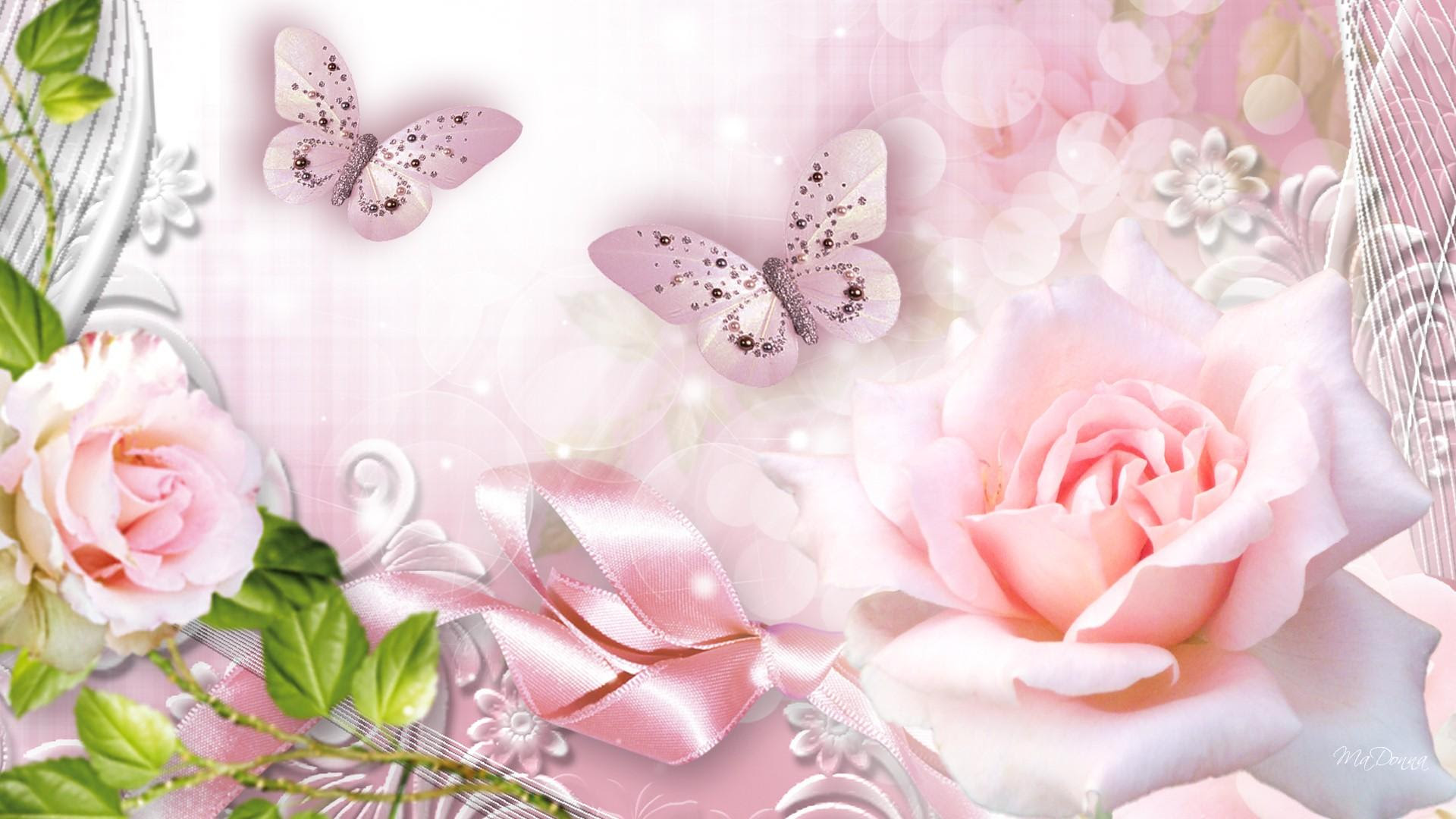 Roses Pink Glow wallpaper   nature and landscape ...