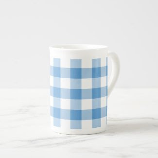 Light Blue and White Gingham Pattern Bone China Mugs