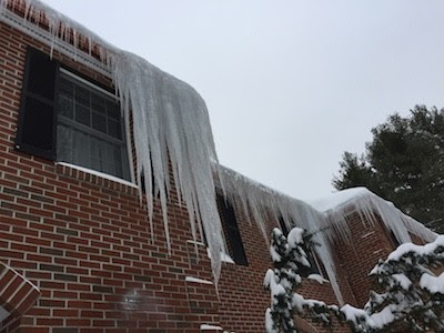 Ice Dams are causing major icicles and leaking in Massachusetts! | Keyes North Atlantic, Inc. - Electrical and Mechanical Contractors