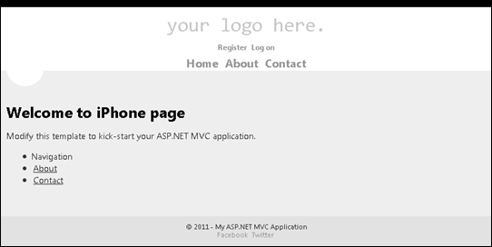 ASP.NET MVC 4: Displaying iPhone page using display modes