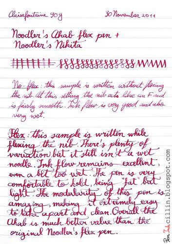 Noodler's Ahab writing sample