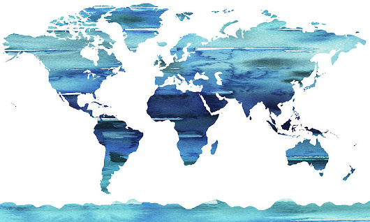 Blue Watercolor Earth World Map by Irina Sztukowski