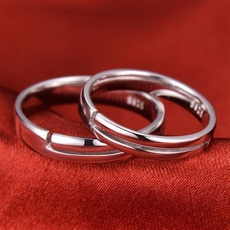 Heart   Heartbeat Engraved Adjustable Promise Rings Set